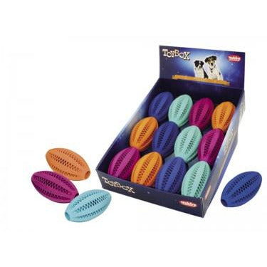 60465 NOBBY Rubber Dental Rugby ball assorted colours 11 cm - PetsOffice