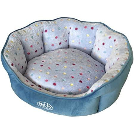 "60662 NOBBY Comfort bed oval ""SPOT"" turquoise/lightblue l x w x h: 65 x 57 x 22 cm"