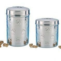 79095 NOBBY Snack-treat jar stainless steel Set 1x0,90 ltr + 1x1,65 ltr - PetsOffice