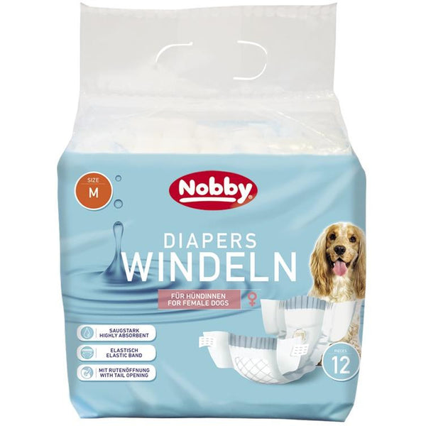 57172 NOBBY Diapers f. female dogs 12 pcs.; M ; 32 - 48 cm - PetsOffice
