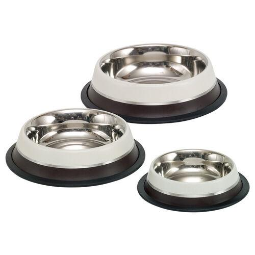 73558 NOBBY Stainless steel bowl TWO TONE, anti slip brown/beige 1,75 L 28,5 cm - PetsOffice
