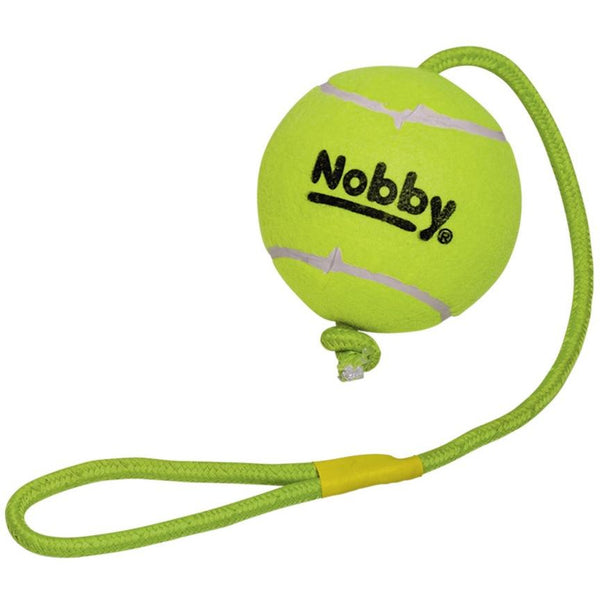 60491 NOBBY Tennisball with throw rope XXL 12,5 cm; rope 70 cm - PetsOffice