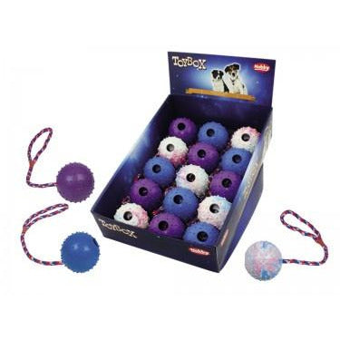 60462 NOBBY Rubber ball with rope assorted colors 7 cm - PetsOffice