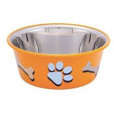 73568 NOBBY Dog Stainless steel bowl CUTIE with paw, anti slip orange 0,90 L 14,5 cm - PetsOffice