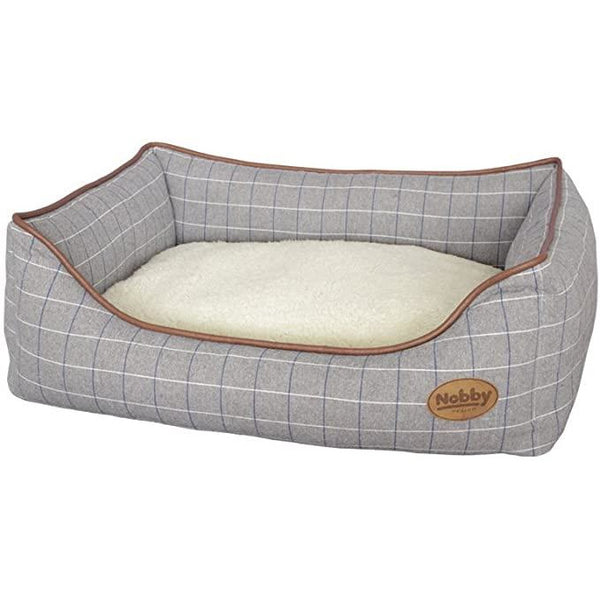 "60113 NOBBY Comfort bed square ""REMO"" grey checker l x w x h: 75 x 60 x 23 cm"