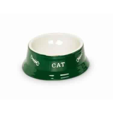 "73374 NOBBY Cat ceramic bowl ""CAT"" green / beige Ø14 x 4,8 cm - PetsOffice"