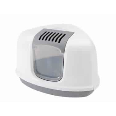 "72178 Cat Toilet (Litter Box) Grey-White ""NESTOR CORNER"" - PetsOffice"