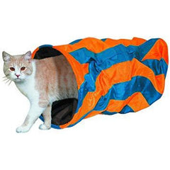 80220 NOBBY Cat tunnel blue orange striped 50 x 25 cm - PetsOffice