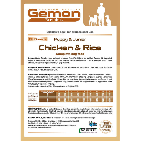 Gemon High Premium Puppy&Junior 20kg - PetsOffice