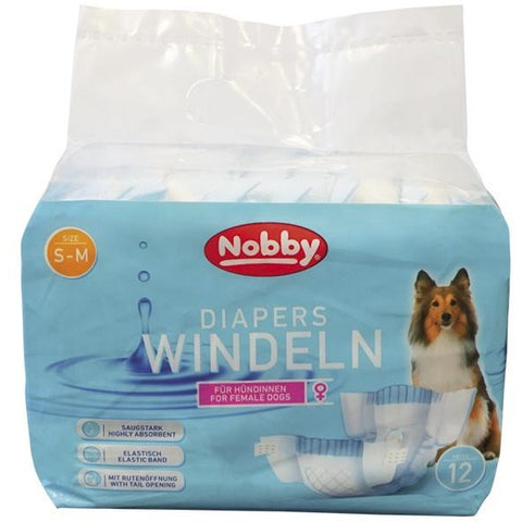57170 NOBBY Diapers f. female dogs 12 pcs.; XS-S ; 20 - 28 cm - PetsOffice