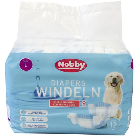 57174 NOBBY Diapers f. female dogs 12 pcs.; L ; 38 - 56 cm - PetsOffice