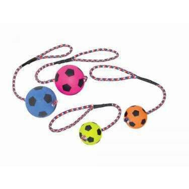 79450 Foam rubber football with rope - PetsOffice