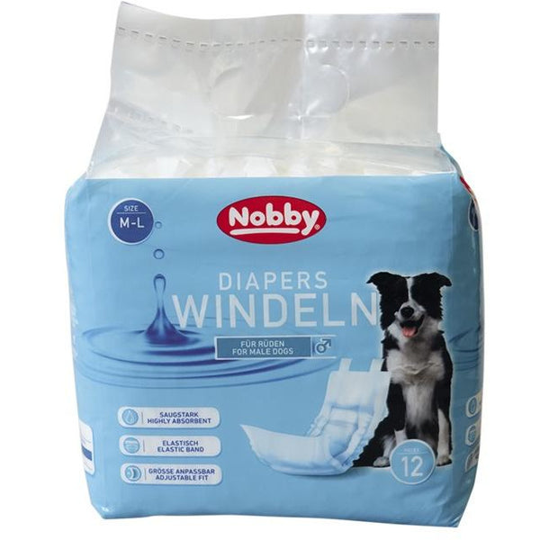 57177 NOBBY Diapers f. male dogs 12 pcs.; M-L ; 46 - 60 cm - PetsOffice
