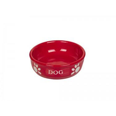 "73425 NOBBY Dog ceramic bowl ""DOG"" red Ø15,5 X 6,5 cm - PetsOffice"
