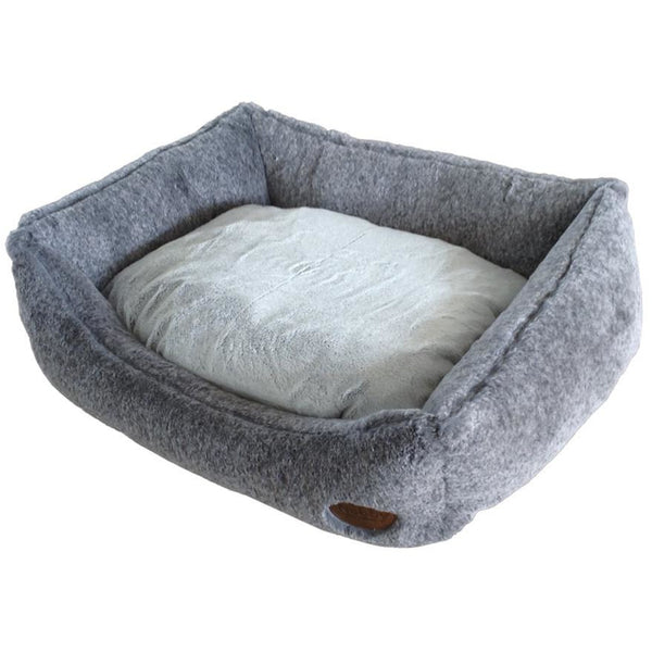 "60682 NOBBY Comfort bed square ""CUDDLY"" lightgrey l x w x h: 45 x 40 x 19 cm"