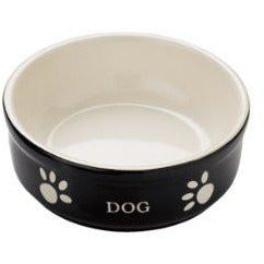 "68766 NOBBY Dog ceramic bowl ""DOG"" Black 13,5 X 13,5 X 5 cm - PetsOffice"