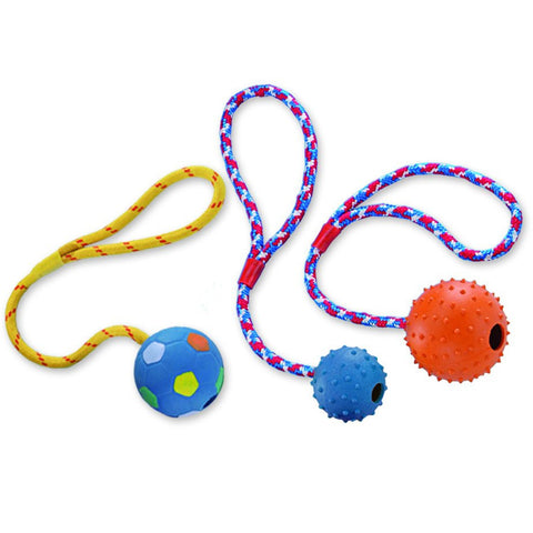 69008 NOBBY Rubber ball with nops, bell and rope - PetsOffice