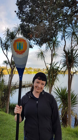 Emma with Hornet Custom Paddle is happy to be a student of SJ from Girls Get Out There NZ