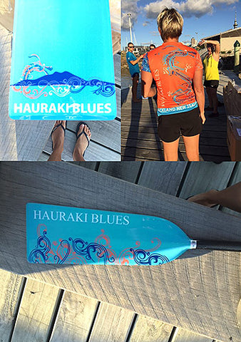 Hauraki Blues custom dragon boat paddle