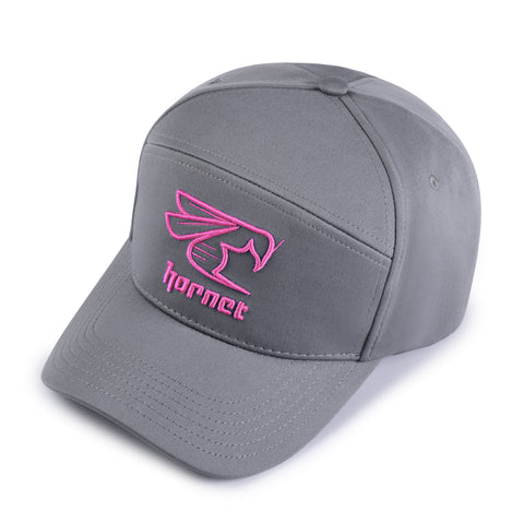 Hornet 5 Panel Cap in Grey with Pink Logo