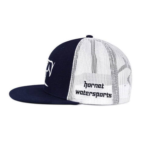 Hornet Flat Front Mesh Back Cap in Navy Blue with White Logo