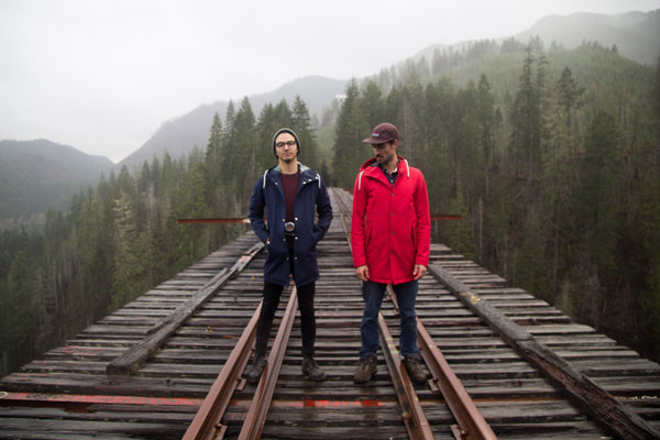 Ember&Earth, Vance Creek Bridge, Red Raincoat, Navy Raincoat