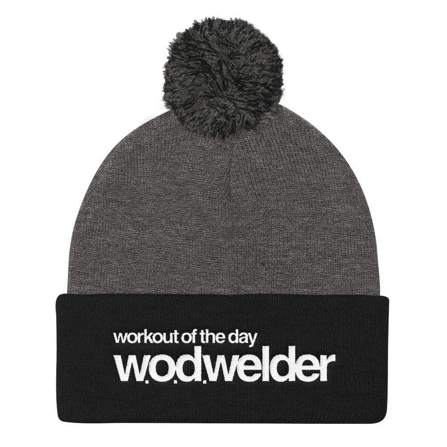 black knit hat with wod welder logo