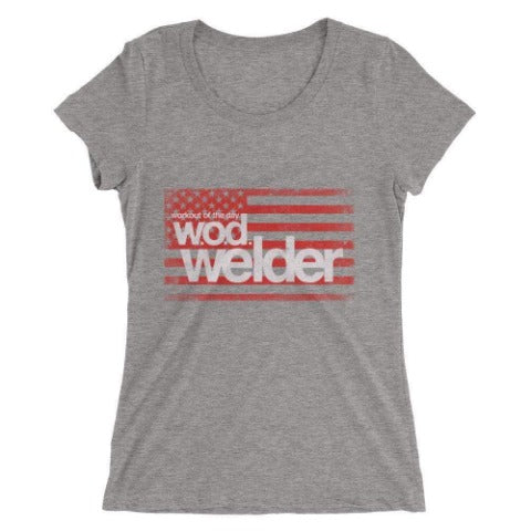 womens black gym tee shirt wod welder
