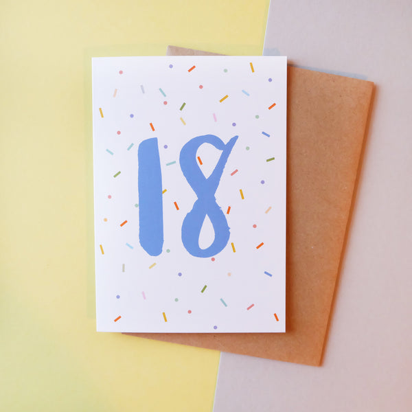 '18' Brush Lettering Card