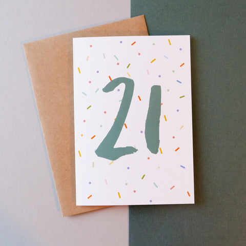 '21' Brush Lettering Card