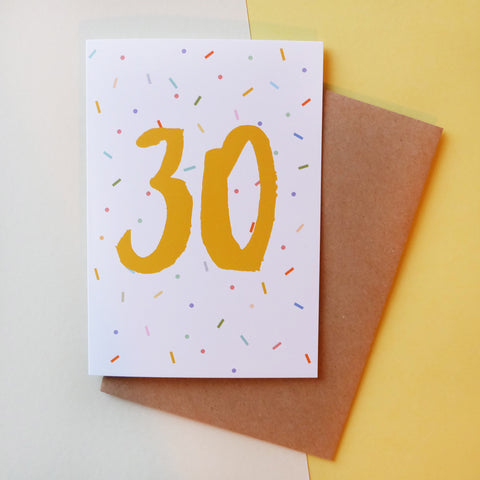 '30' Brush Lettering Card