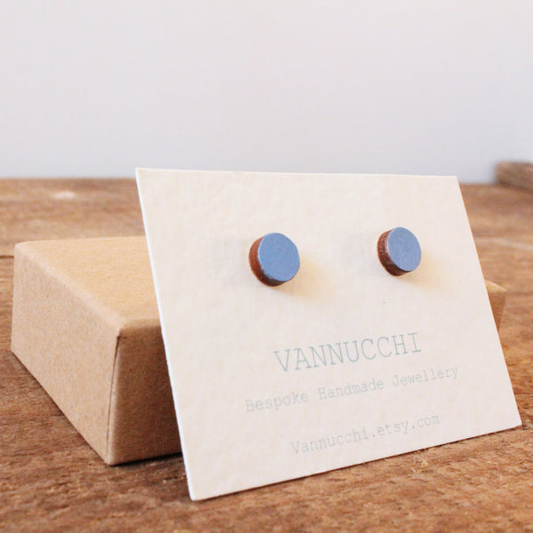 Cobalt Blue Wooden Earrings