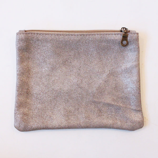 Handmade Leather Pouch in Matte Silver