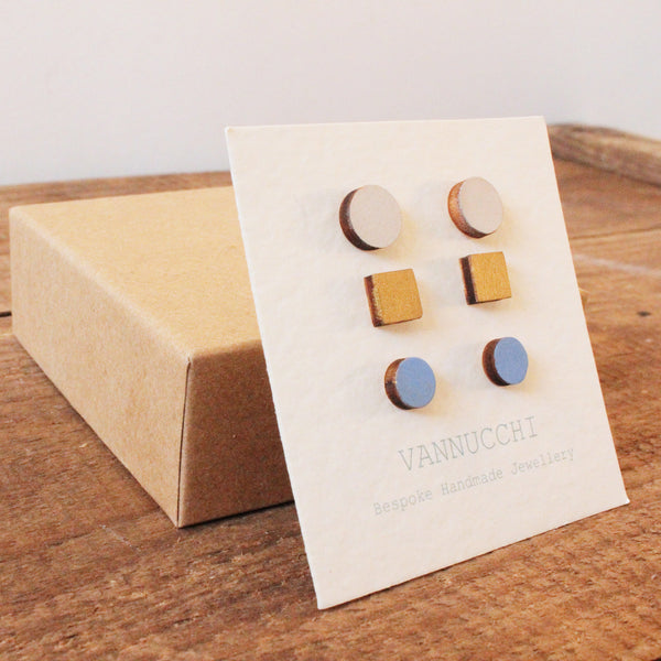 Wooden Earring Sets in Stone Grey, Gold and Cobalt Blue
