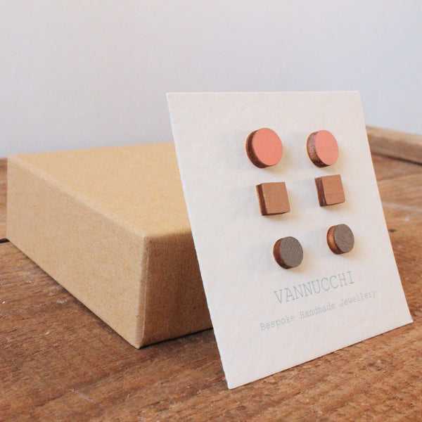Wooden Earring Sets in Pink, Nude and Dusty Grey