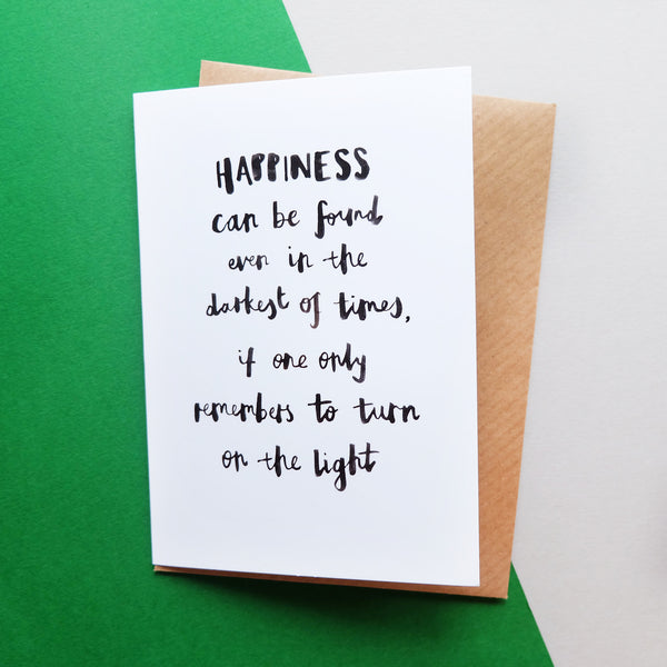 'Happiness can be found' Brush Lettering Card