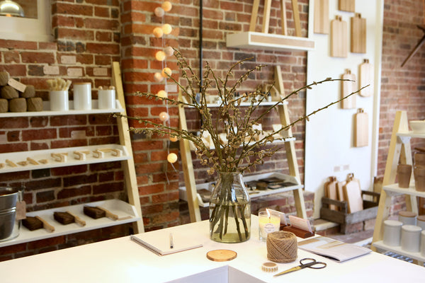 Leaning Shelves | Pine + White | The Shop-Fit Collection
