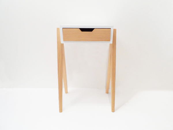 The Neat Bedside Table | Pine + White | with Drawer
