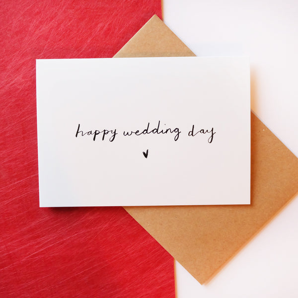 'happy wedding day' Brush Lettering Card