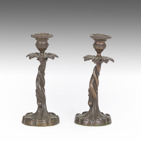 A Pair of Bronze Candlesticks - MS210