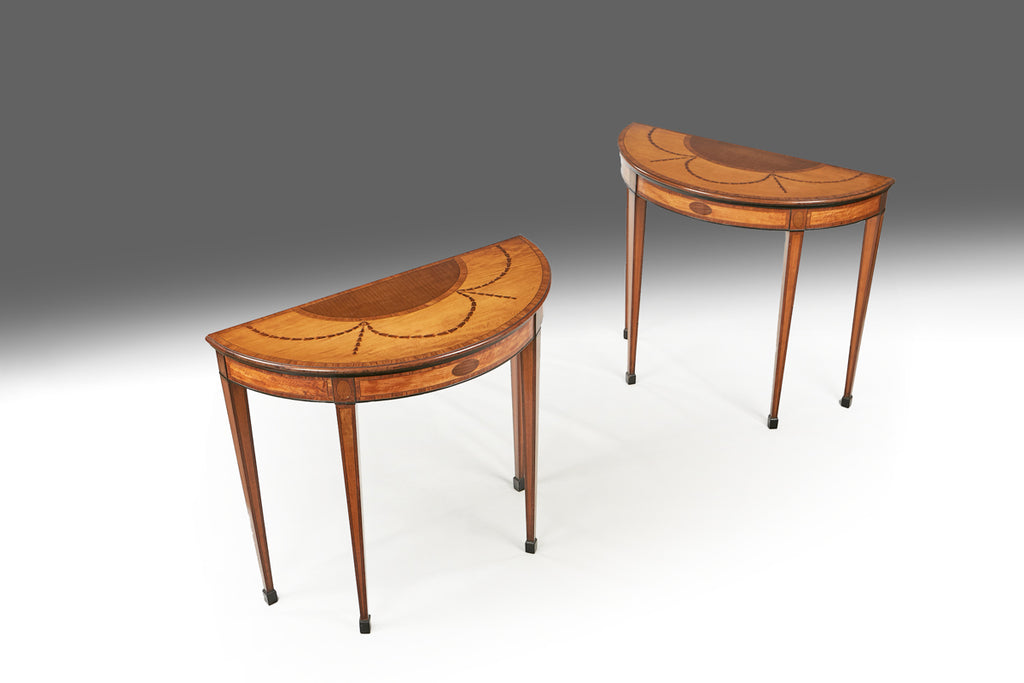 A Fine Pair of 18th Century Demi Lune Tables - TB251