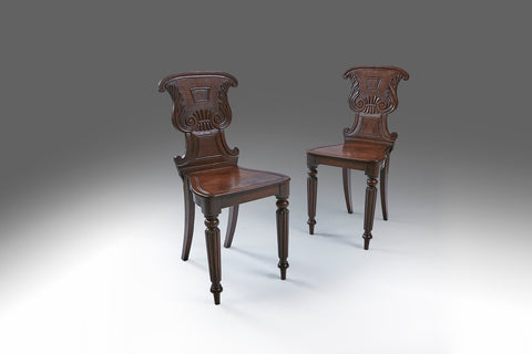 A Pair of 19th Century Hall Chairs - ST413