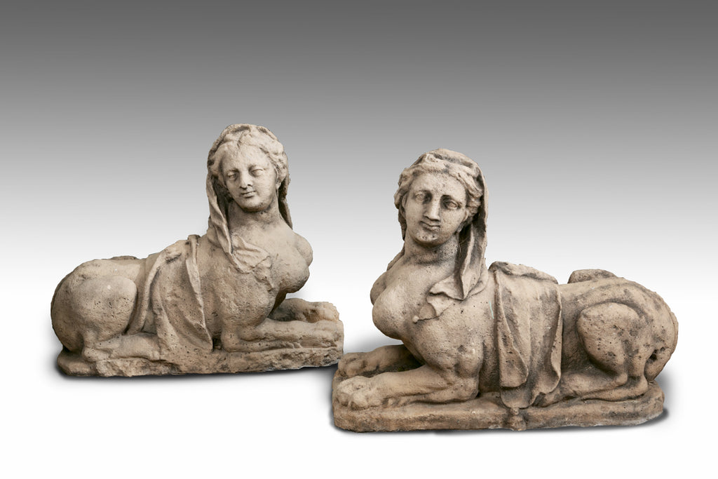 A Pair of Carved Sphinxes - MS213