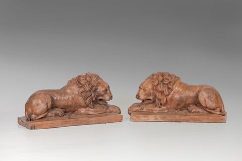 A Pair of Terracotta Lions - MS111