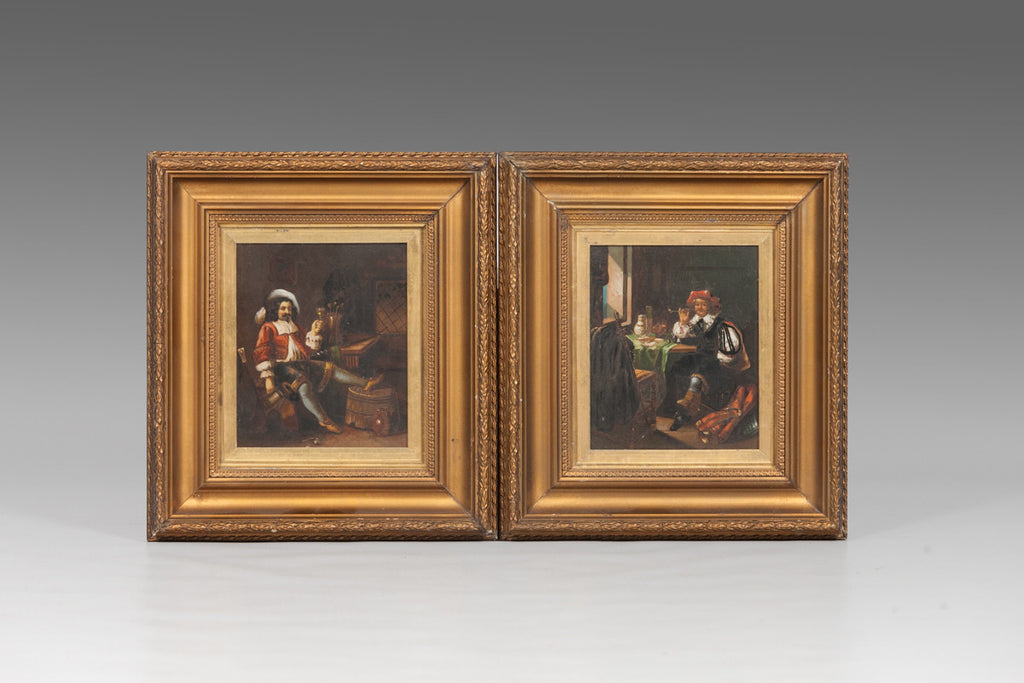 Pair of Interior Dutch Scenes - PTG105