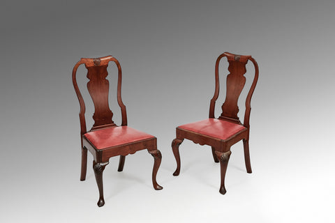 A Pair of Early Irish Walnut Side Chairs - ST232