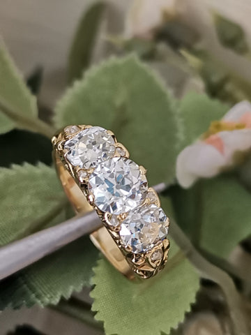 Old Cut Diamond Trilogy Ring
