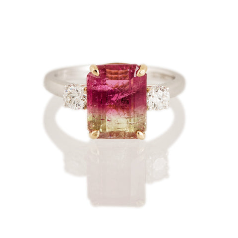 Bi-colour Tourmaline Three stone Ring