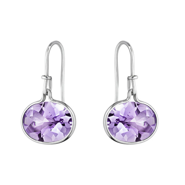 Savannah Drop Earrings- Sterling Silver and Amethyst