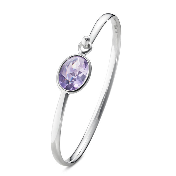 Savannah Bangle- Sterling Silver and Amethyst